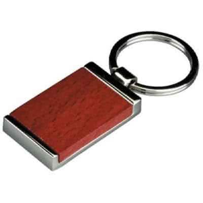 Porte clés en bois et métal rectangulaire plaque en bois