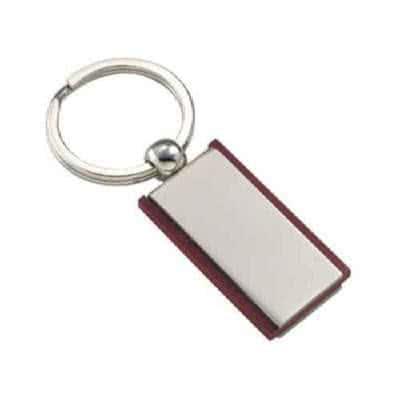 Porte clés en bois et métal rectangulaire plaque en métal
