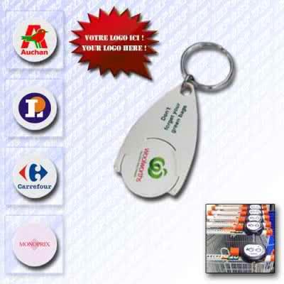 Porte-clé porte-jeton de caddie clic clac en plastique